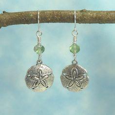 Handmade Earrings   Sand Dollar   Sea Green Bead by Hyacinthsbyme, $7.00