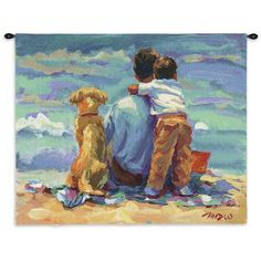 Treasured Moments Wall Hanging Tapestry Lucelle Raad is known for her realistic innocent images of children just being themselves. This brown headed little boy is clinging to his best buddy as his oth