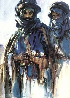 Bedouins - John Singer Sargent     My favourite water colourist, and one of his best--note those hard and soft lines!!!