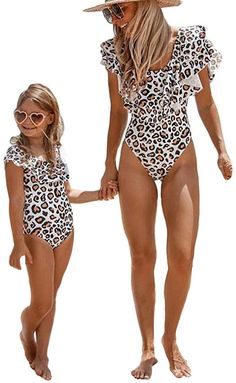 Mommy/&Me One Piece Bathing Suit Family Matching Round Neck Sleeveless Backless Swimsuit