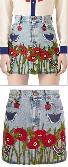 Embroidered Denim Mini Skirt, Light Blue/Multi