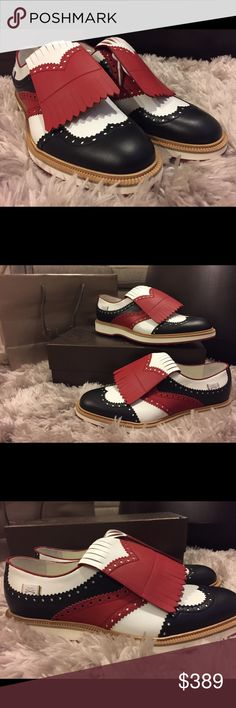 sports shoes 436e7 04632 Gucci  Beaufort  Shoes Sz 10 Leather upper, black, white, red with  removable fringe Gucci Shoes Oxfords   Derbys
