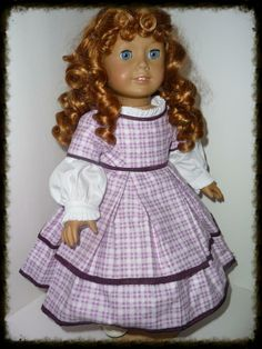 Purple plaid 1850's dress for American Girl dolls.  Pattern by KeepersDollyDuds.  Sewn by me, Sewbig!
