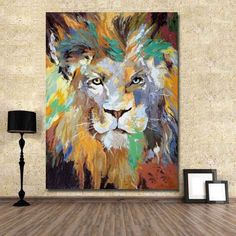 NEW-Hand-painted Abstract Oil/Acrylic Canvas painting Wall Pop Art Lion Animal