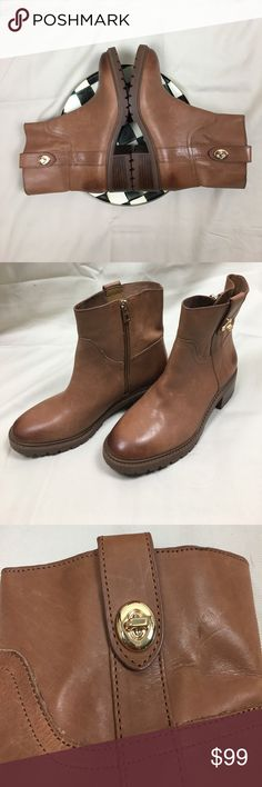 Coach booties. Low Coach leather boots. Coach  Georgetta leather boots. Great sturdy soles. Looks amazing with jeans. These are an investment. Coach Shoes Ankle Boots & Booties