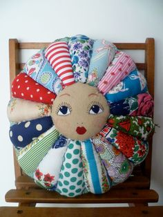 Summer Flower Doll Face Vintage Cottons by forgottenstitches, Patchwork Cushion, Quilted Pillow, European Pillows, Quilting Designs, Quilt Design, Vintage Cotton, Vintage Fabrics, Doll Face, Pin Cushions