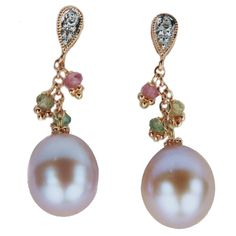 Lilac Fresh Water Pearls with Tourmaline and Diamonds, 14k Rose Gold Dangle Earrings