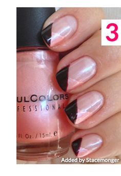 Peach with Black Tips Nail Design