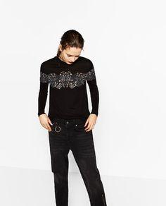 Zara'dan 2  PRINTED HIGH NECK TOP Resmi
