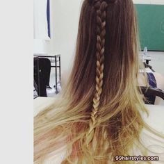 beautiful ombre hairstyle  with braid - 99 Hairstyles Ideas