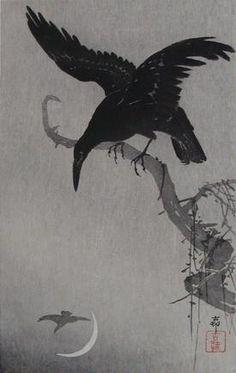 °Crescent Moon & Crow by Ohara Koson