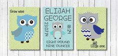 Beautiful set of three, blue and green owl prints available in sizes A4, A5 and 5x7 inches and printed onto heavy weight, gloss paper.