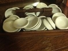 Love these ironstone butter pats i have a lot of these in my garage. Antique Dishes, Vintage Dishes, Farmhouse Pitchers, Vintage Farmhouse, Vintage Restaurant, Restaurant Dishes, Cabinet Inspiration, White Cafe, All Restaurants