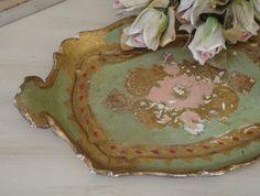 ITALIAN FLORENTINE TRAY - Pink Green Gold - Shabby Italy Chic.