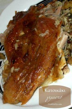 Κατσικάκι γεμιστό ⋆ Cook Eat Up! Lamb Recipes, Greek Recipes, Meat Recipes, Cooking Recipes, Recipies, Easter Dinner Recipes, Greek Cooking, Happy Foods, Christmas Cooking