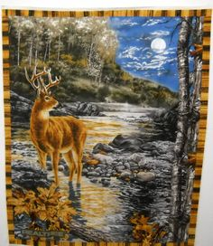 REALTREE Deer Buck Stag Fabric Panel 9936 Print Wall Hanging FREE SHIPPING by SeaPillowTreasures on Etsy