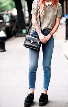 Le Happy wearing Barbara Hudson Jeans and Saint Laurent High School Satchel