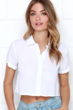 c98cdde6b6 Glamorous School s Out Ivory Button-Up Crop Top at Lulus.com! Crop Blouse
