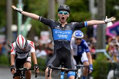 Great South Coast Stage 2 winner - (Photo: Australia's Avanti Isowhey Sport team cyclist Sam Crome of Australia celebrates as he crosses the finish line during the Tour of Japan 8th and final...