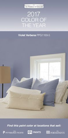 2017 Paint Color of the Year, Violet Verbena!  Violet Verbena is a gray-purple hue. This nuanced update on a classic shade adds depth, luxury & pampering to every space, making it the perfect backdrop for consumers looking to blend the masculine, the feminine, the mystic & the modern. Violet Verbena adapts to surrounding environments and complements a variety of design aesthetics, from playful rooms to tranquil spaces. Violet Verbena is a moody purple with a chameleon-like presence.