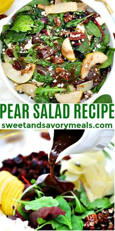Pear Salad is the best salad for autumn and winter! #pear #fallrecipe #sidedish #pearsalad #sweetandsavorymeals Best Salad Recipes, Pear Recipes, Fall Recipes, Savoury Dishes, Food Dishes, Pear Salad, Dinner Salads, Food For A Crowd, Easy Salads