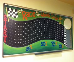 The Race to the Winners Circle - a sales motivation board.