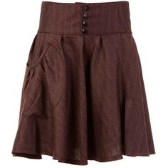 SOCI?T? ANONYME Pleated button skirt (€48) ❤ liked on Polyvore featuring skirts, bottoms, saias, brown, women, button skirt, cotton skirt, brown pleated skirt, brown cotton skirt and knee length pleated skirt