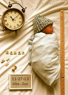 Adorable idea for a birth announcement or newborn photo!