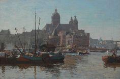 Cornelis Vreedenburgh - Het havenfront van Amsterdam met de St. Nicolaaskerk 1927
