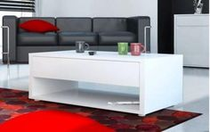 Urbana, modern coffee table in white or black gloss with a drawer and shelf 230