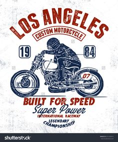 Los Angeles motorcycle typography, t-shirt graphic, vectors.