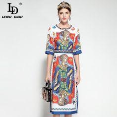 85956dd05fd LD LINDA DELLA Queen Vintage Dress  printeddress  summerstyle  queendress   luxe  fashion