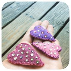 Girly girl felt and rhinestone pink and purple hair clips by Sarahbellum in Chelan, WA