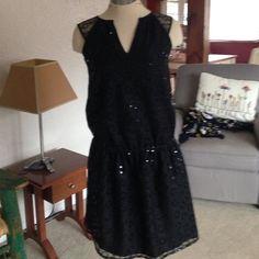 NWT-QMack dress. Black w/sequins! This dress is so beautiful. NWT. Black dropwaist dress. QMack Dresses