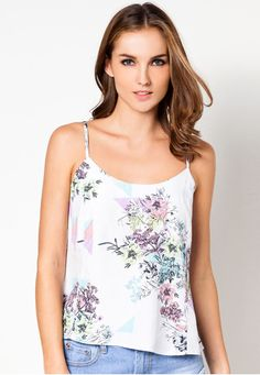 7a41888623 Php 647.00 Purple Geometric Floral Print Tie Cami by Lola Skye features  adjustable strap lengths and