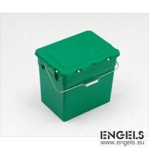 Milieubox 400x310x360 mm, 30 ltr, scharnierdeksel, met hengsel, groen