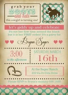 Cowgirl themed 1st birthday http://www.etsy.com/shop/EThreeDesignStudio