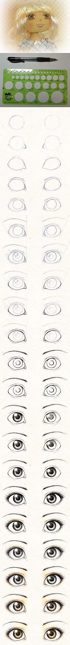 Dessiner les yeux de poupée textile. Étape par étape ...