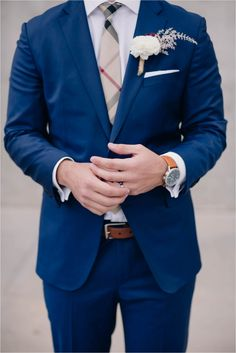 Vintage and Romantic Bistro Wedding in Phoenix Arizona Wedding by Unfading Beauty Photography   navy blue suit   Blush wedding details   ball wedding gown   wildflower boutonniere   downtown phoenix   burberry tie