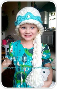 HAND MADE WITH LOVE in the USA **MADE TO ORDER!** Crochet Queen Elsa from Frozen Inspired Hat! Light Blonde hair, blue crown, &