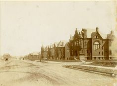 View of houses on Lindell Boulevard from Taylor Avenue. (1887)