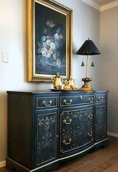 Navy Blue and Gold Sideboard | Gold Rush Metallic Paint by Modern Masters on Embossed Scroll Pattern | Project by Pamela Field featured on Hometalk