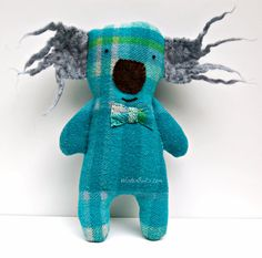 Koala Softie by WinterOwls love the funky fur or wet felt ears on this koala plushie design ,might use it on a dog