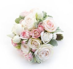 An extra large posy of pink/cream Garden Roses, champagne Paris Roses and fresh touch roses, with dusty miller leaves. Find your perfect wedding flowers at http://www.loveflowers.com.au
