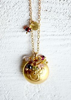 Om Yoga Necklace gold tourmaline yoga jewelry by KahiliCreations