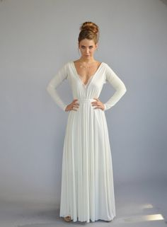 Simple white dress floor length lace cleavage bell by Barzelai