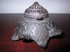 Black Cast Iron Decorative Art Deco Ink Well With by ErasBygone, $45.00