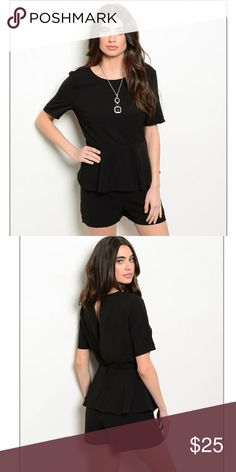 NWT dressy black short sleeve romper Short sleeve dress up or down for different looks!! Pants Jumpsuits & Rompers