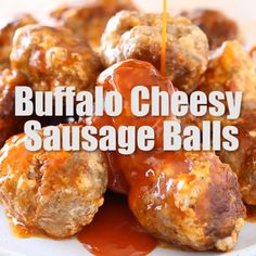 This easy four ingredient recipe for the best Crock Pot Buffalo Cheesy Sausage Balls are the perfect party appetizer for Super Bowl holidays tailgate food or anytime! Theyre also gluten free and low carb! Snacks Für Party, Appetizers For Party, Appetizer Recipes, Meat Appetizers, Appetizer Ideas, Party Recipes, Egg Recipes, Party Party, Ideas Party