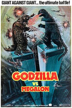 Day 8 of Kaijuly Favorite Godzilla Battle? I mentioned this before, but my favorite Godzilla battle is from Godzilla Vs Megalon. It's the most memorable Godzilla fight for me. Horror Movie Posters, Film Posters, Horror Movies, Scary Movies, Horror Art, King Kong, Old Movies, Vintage Movies, Vintage Posters